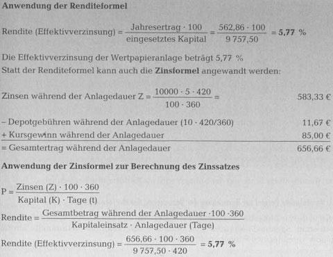 Rendite von Schuldverschreibungen - Anlage in Wertpapieren51